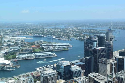 View of Sydney Harbour from above.