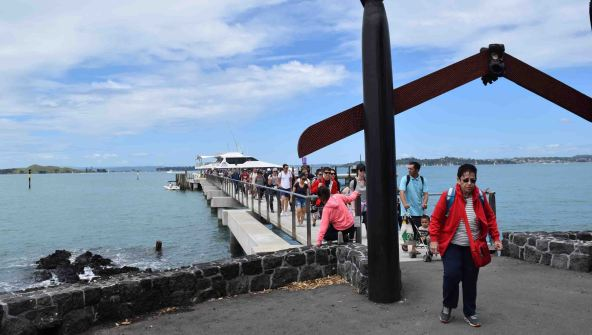 Disembarking the ferry at Rangitoto Island.