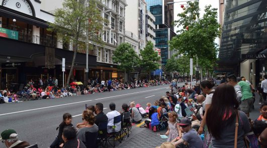 People waiting for the Santa Parade in Auckland as we walk to the ferry. The parade is still a couple of hours away!