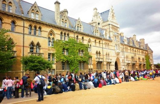 People line up at Christ Church College to see where they shot a little Harry Potter.