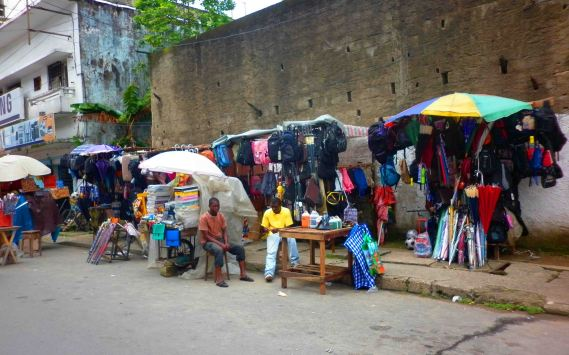 Street vendors in Douala.