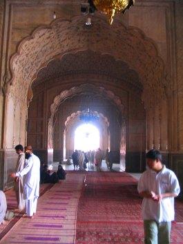 Inside the Badshahi Mosque.