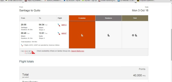 qantas booking example