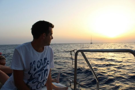 Sailing around Santorini