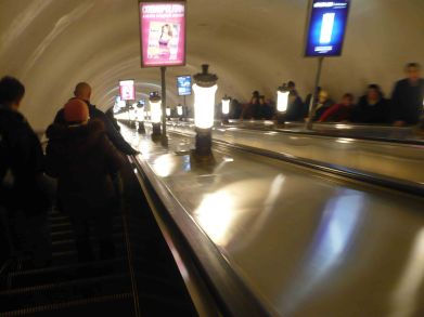 Escalators down to the metro, St Petersburg.