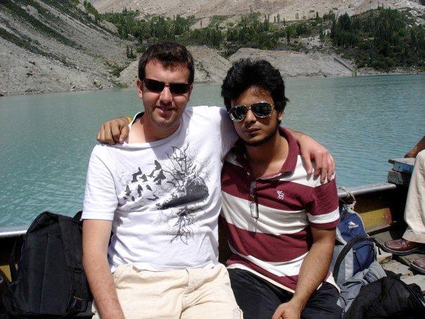 Tim and his friend Aehsun on the boat near Gulmit, Pakistan