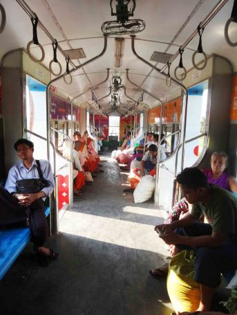 Inside the carriage.