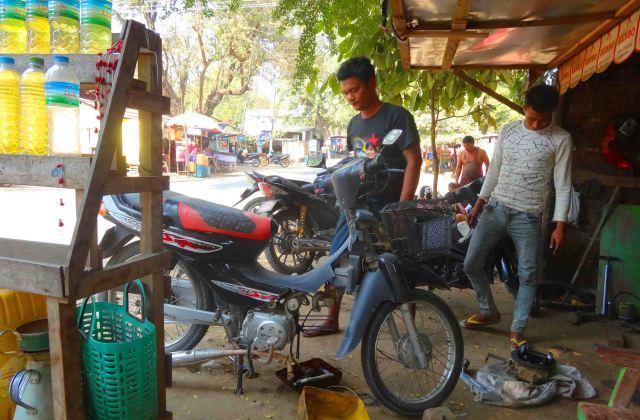 fixing the bike