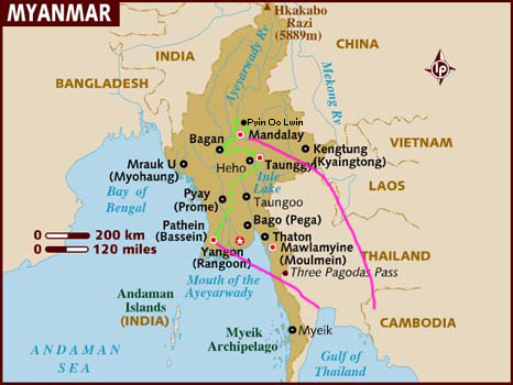 map_of_myanmar route