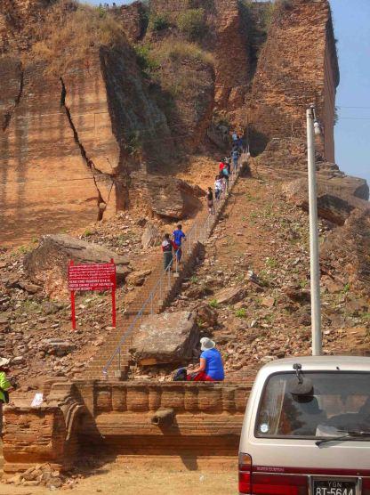 Climbing to the top of Mingun Paya.