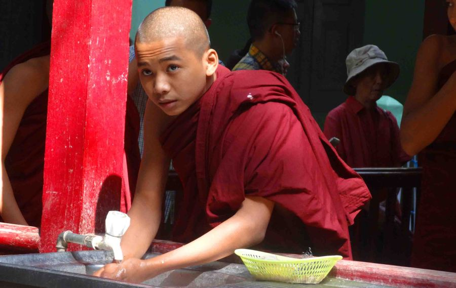 monk getting water