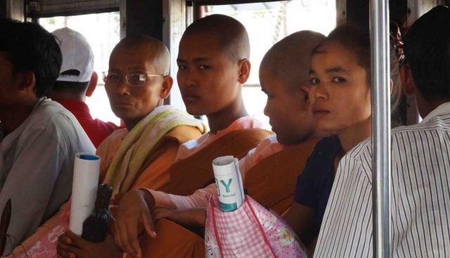 monk on train yangon
