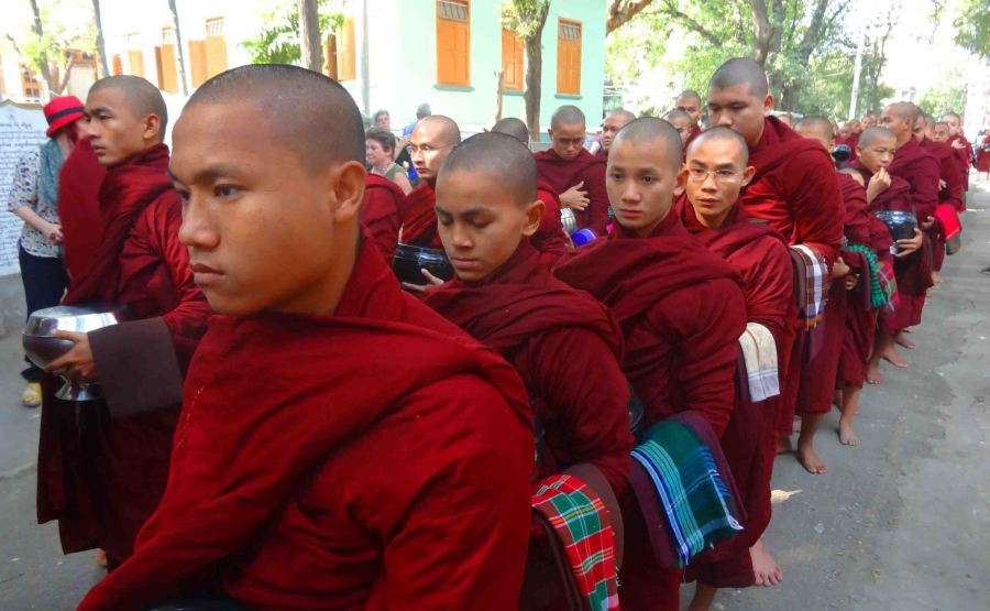monks in line Mandalay