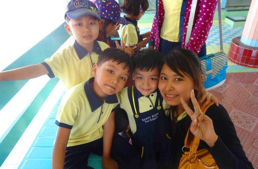 teacher and kids Mandalay Hill
