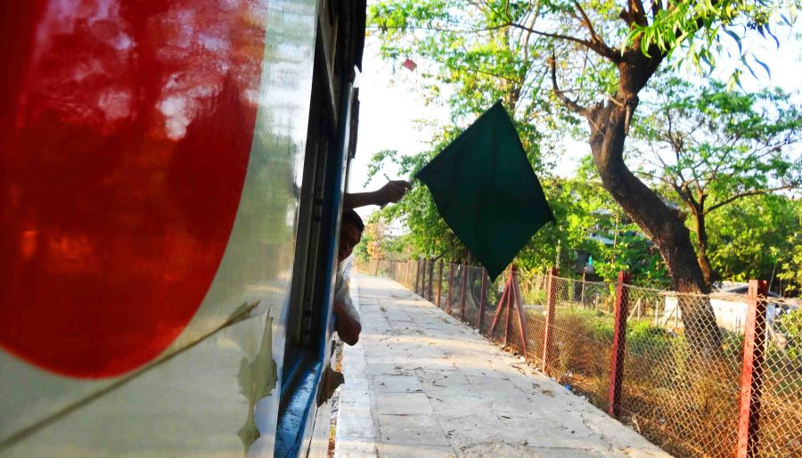 yangon circular train green flag