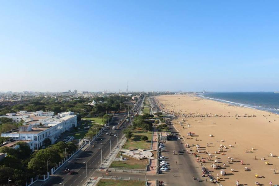 Chennai and Marina Beach panorama