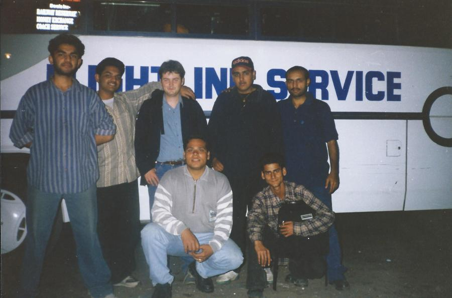 Friends and so forth in Jalandhar before the night bus left for Delhi. Yes, that is me in the centre!