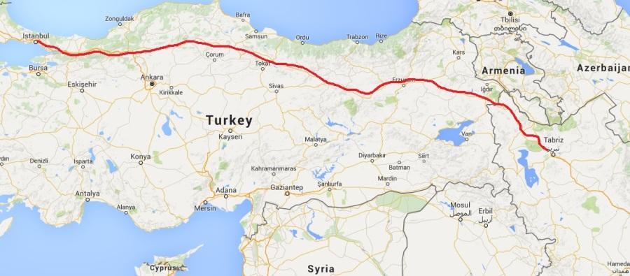 map tabriz to istanbul