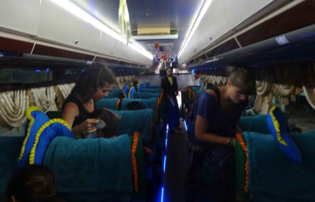 Interior of night bus in Myanmar.