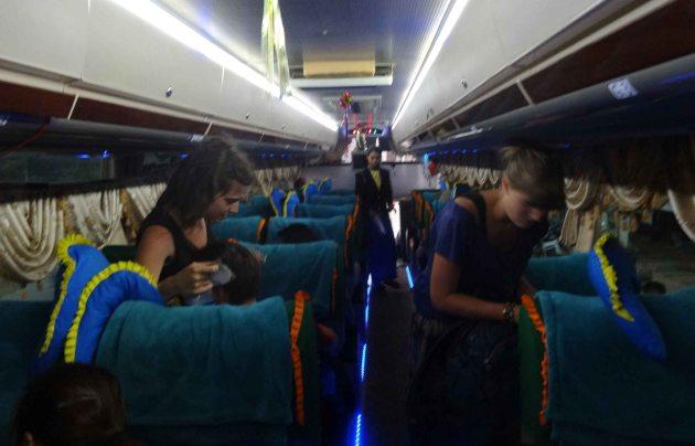 Interior of night bus in Myanmar.