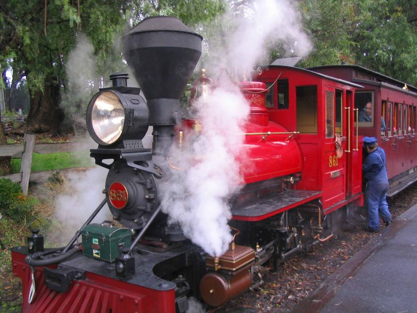 If you're lucky you might get hauled by this amazing vintage engine.