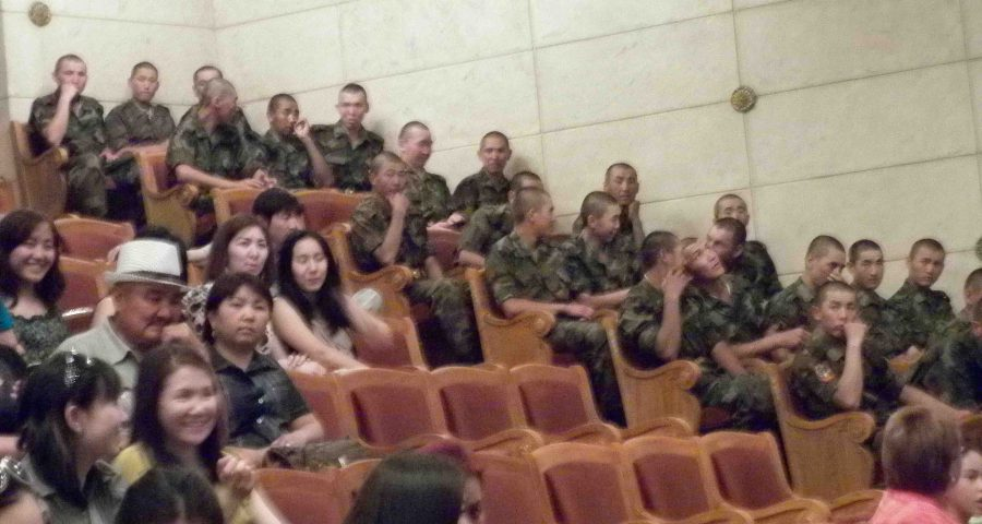 soliders in Bishkek theatre