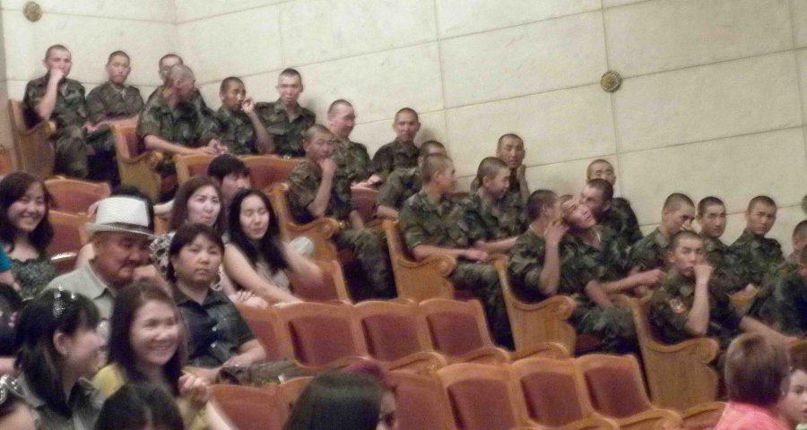 soliders in Bishkek theatre