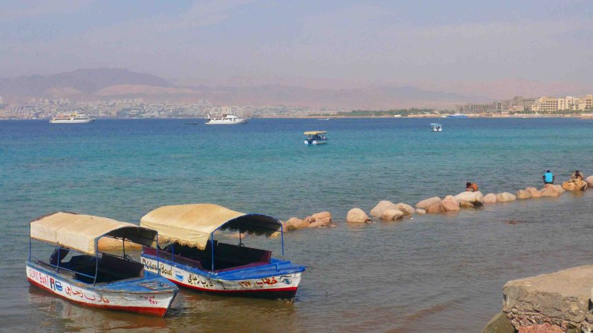 Across the bay at Aqaba. Egypt straight across, possibly Israel to the right.