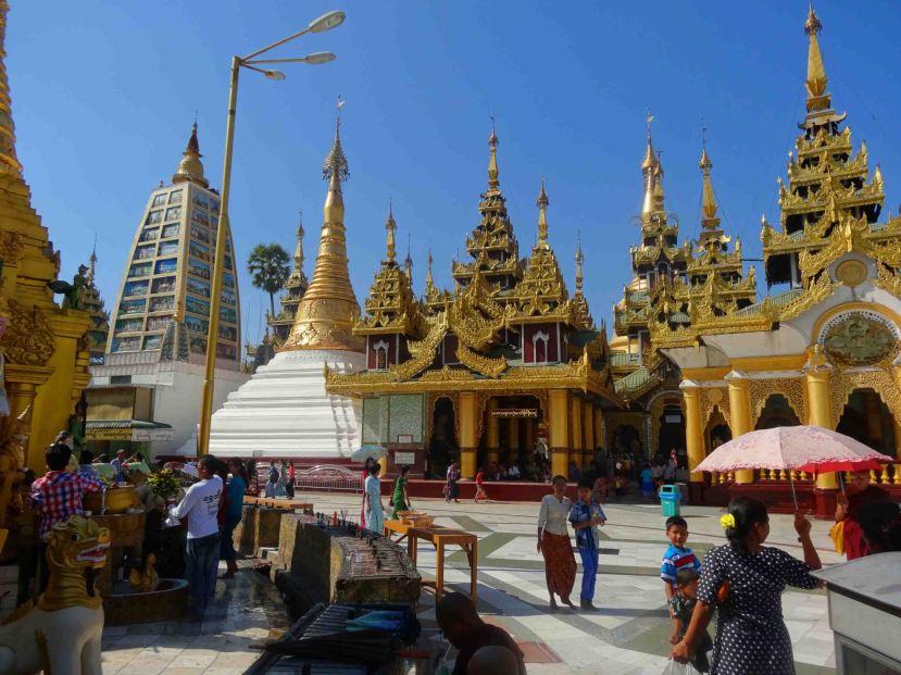 At the top of the Shwedagon Pagoda, Yangon