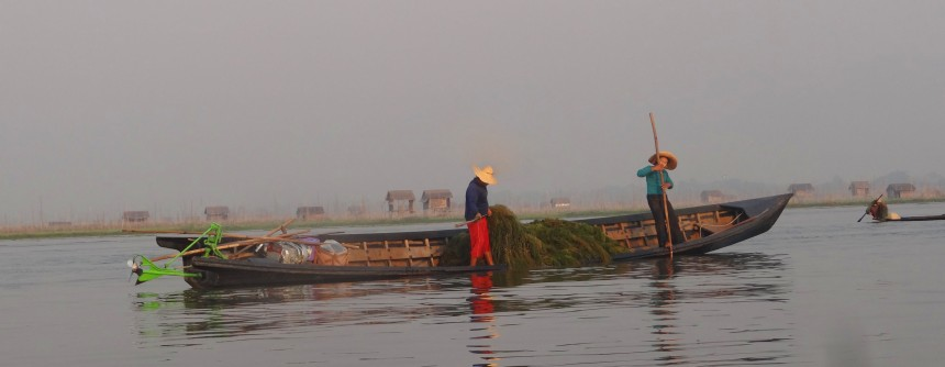 Boat's all right on its side mate! On Inle Lake.