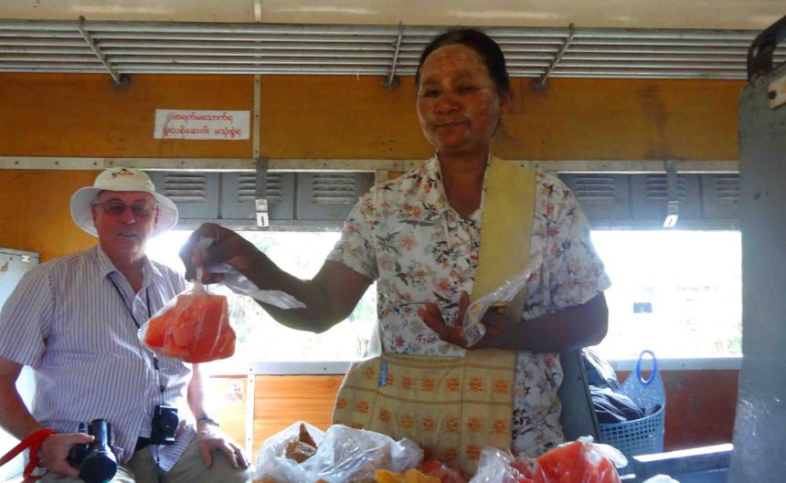 Get your watermelon here! On the train from Pyinn Oo Lwin.