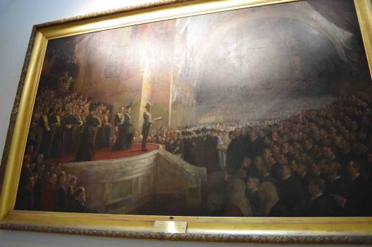 A portrait of the first opening of parliament.