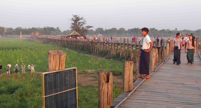 U-Bein Bridge, near Mandalay. Sunset sees it packed with locals and foreigners alike.