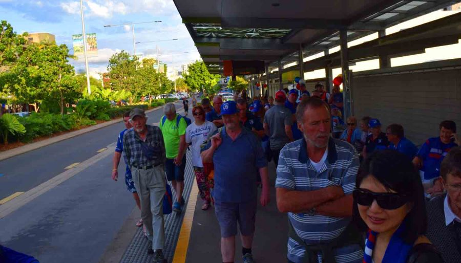 Waiting in Central Cairns at Bus Stop.