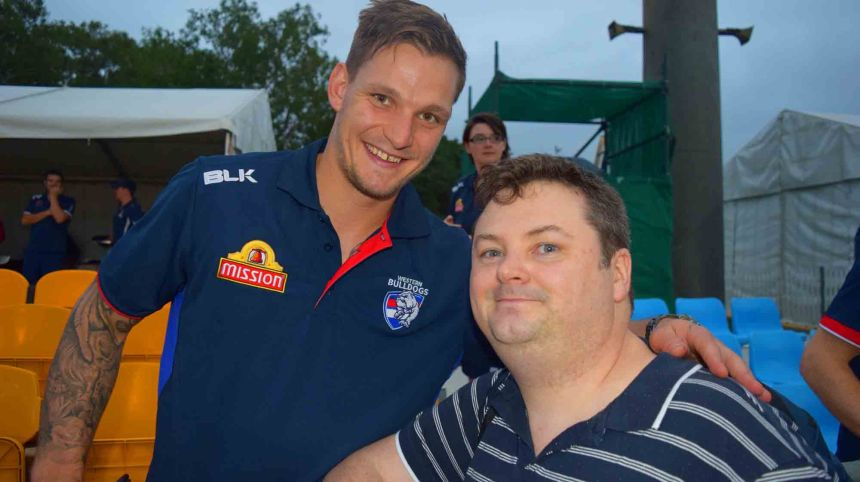 Day before - a snap with player Clay Smith.