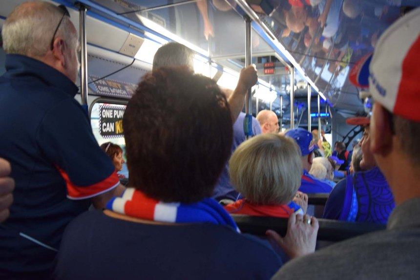 On the bus to the game!