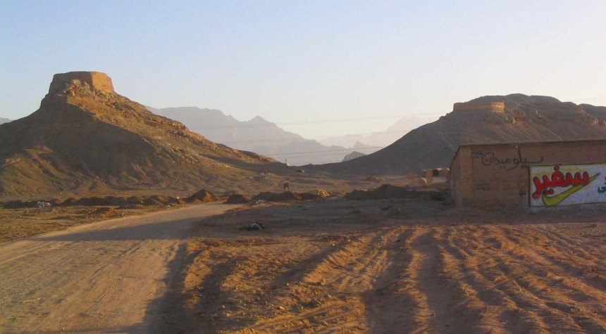 Outskirts of Yazd at dusk.