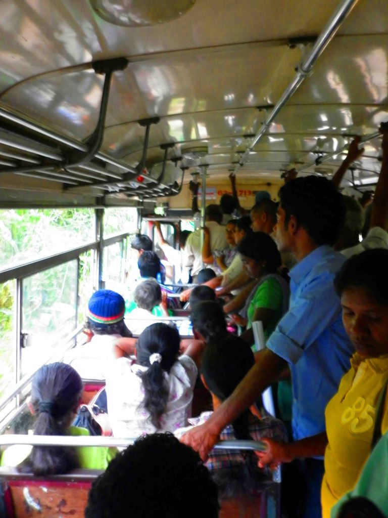Taking a bus to the Tea Museum in Kandy.
