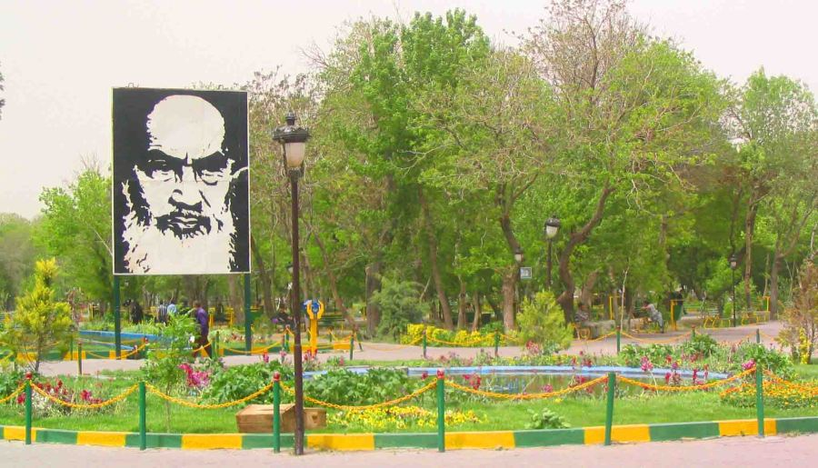 Khomeini watches over a park in Tabriz.