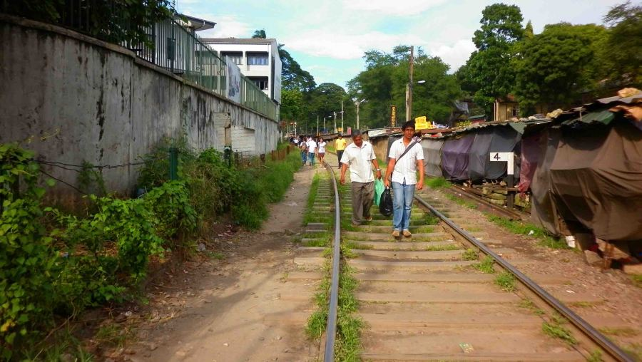 Walking along the tracks in Kandy.