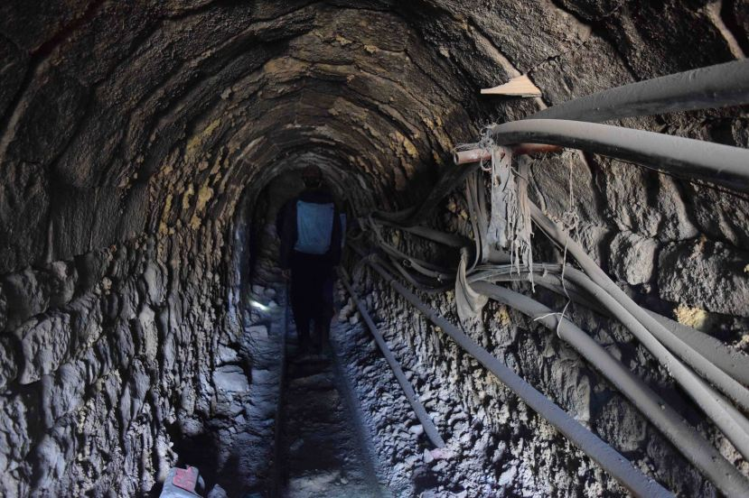 Entering the mine.