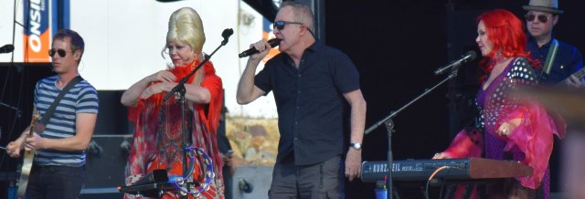 The B-52s rocking on stage.