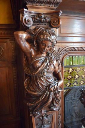 Wood carving in the dining room.