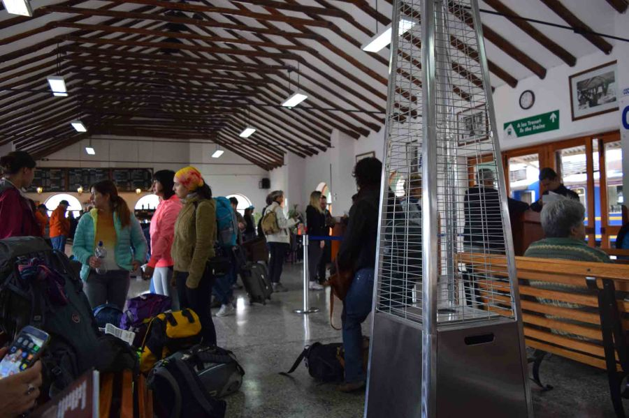 Inside Poroy station as the passengers gather,