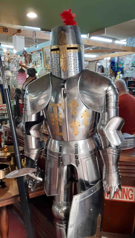 Knight greets you at the Chapel street Bazaar