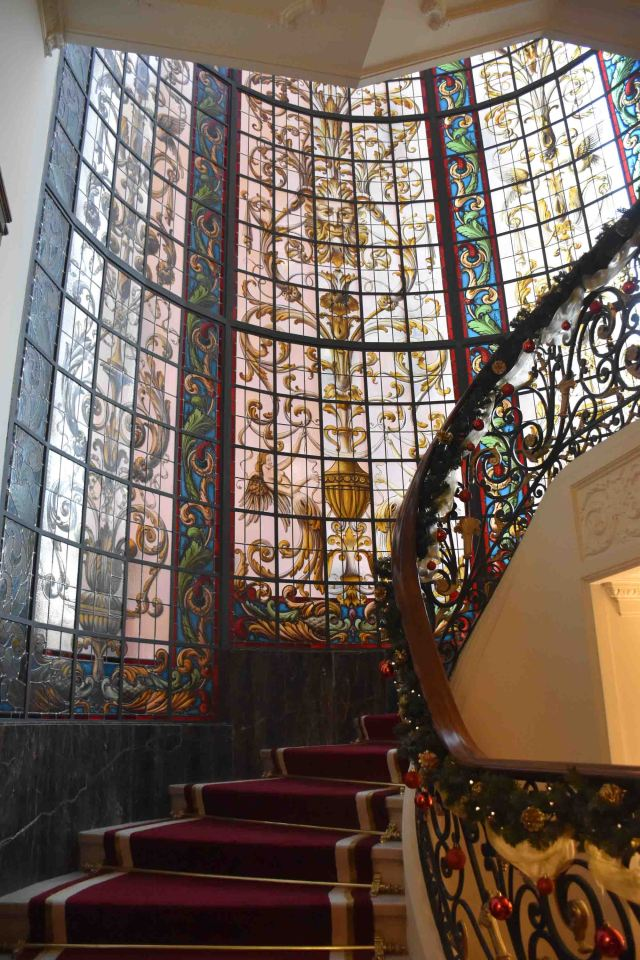 Inside the Infante Sagres this incredible stained glass window is a backdrop for the staircase.